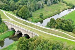 Dreibogenbrücke mit Stever-Floß